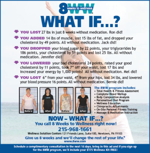 8 weeks to wellness, Wellness Solution Centers, 121 Friends Lane, Suite 100, Newtown, PA, asks what if: you lost 27 lbs in 8 weeks without medication; you added 14 lbs of muscle, lost 15 lbs of fat and dropped yr cholesterol by 49 points without medication
